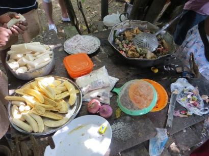Ingredienser till rundown, kokos, vitlök och leguan mm.